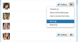 This is what you get if when you click on twitter's profile dropdown menu on unwanted followers or spam