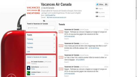 Vacances Air Canada - Air Canada Vacations in French, Air Canada Vacations Twitter page in French showing travel promotions and deals that they have
